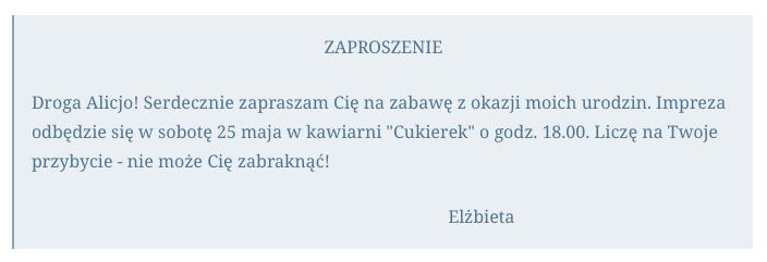 Zaproszenie I Dedykacja Język Polski
